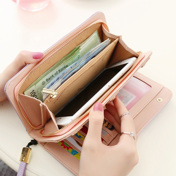 Picture of Handbag Fossil Solid Color Leather Snap Wallet Clutch Zipper Skin Women's Unique Ladies Simple Wrist Hand Rope