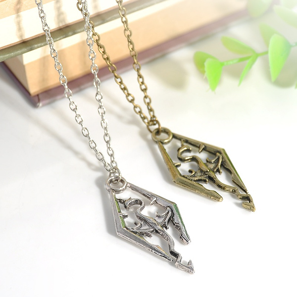 The Elder Scrolls Logo Fashion Cool Skyrim Dragon Pendant Charm Necklace  Chain