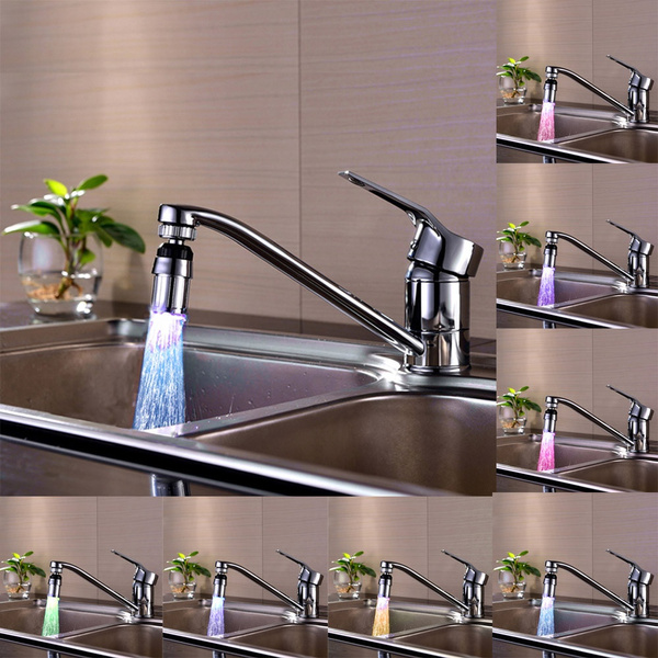 Picture of New Kitchen Sink 7color Change Water Glow Water Stream Shower Led Faucet Taps Light Silver