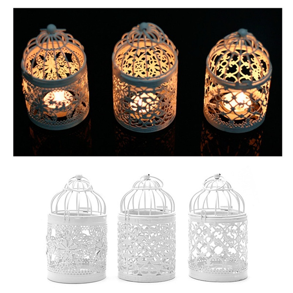 Picture of Hollow Holder Tealight Candlestick Hanging Lantern Bird Cage Vintage Wrought New Pre