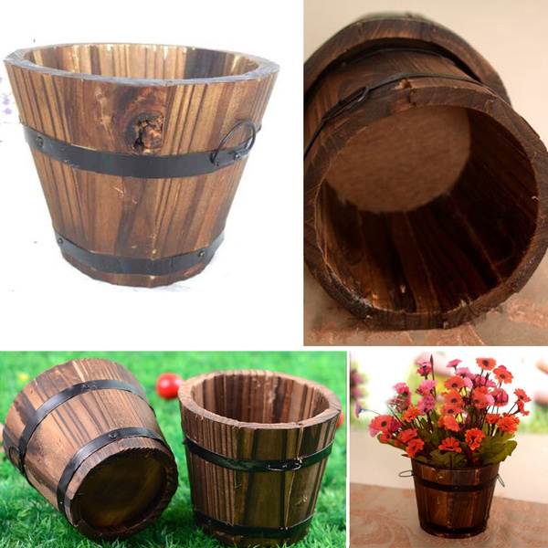 Picture of Sshouse Wooden Flower Pot Basket Flower Bow Carbonized Wood Barrel For Wedding Home Decor Wsh110-150807004a21 Color Brown