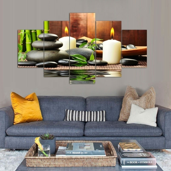 5 Panels Frameless Wall Art Picture Canvas Paintings Plant Green Feng Shui White Candle Wall Decorations For Living Room Giclee Paintings Home Decor