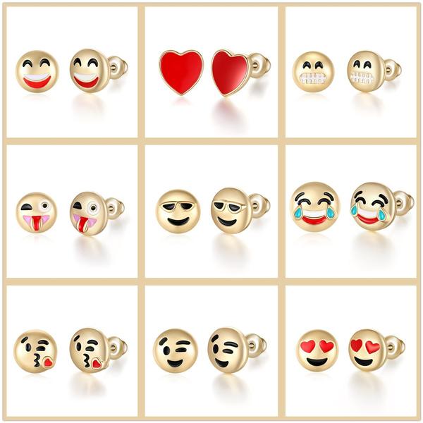 Hot Face Emoji Smiling Cartoon Golden Earrings