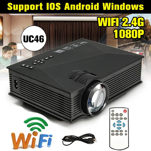 Picture of Uc46 Portable Lcd Projector Cinema Hd 1080p Led Mini Home Theater Projector 1200lumens 2.4g Wifi Hdmi Vga Color Black