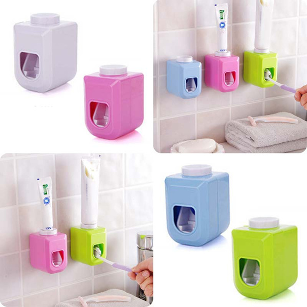 Automatic Auto Squeezer Toothpaste Dispenser Hands Free Squeeze Out Wall shelf