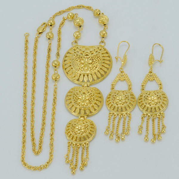 62CM Necklace & Earrings Dubai Gold Jewelry sets 18k Gold Plated Middle  East Jewellery Egypt/Turkey/Iraq/Africa/Nigeria #008212