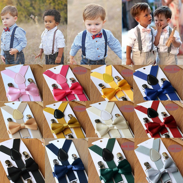 Cute Braces Elastic Suspender And Bow Tie Wedding Suits For Baby Toddler Kid Boy