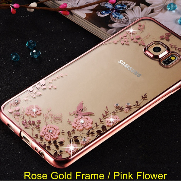 Flower Diamonds Soft TPU Cases Cover For Samsung Galaxy A3 A5 A7 2016 2015 J3 J5 J7 Grand Prime S3 S4 S5 S6 S6 Edge S7 S7 edge Note 4 5 /iPhone 5 5s 6 6s 6 plus 7 7 Plus