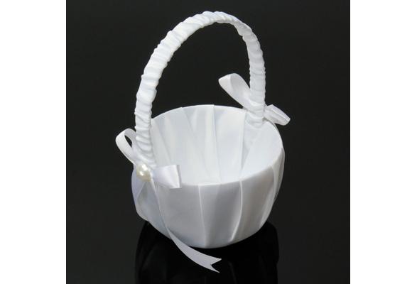 Wish romantic wedding party ceremony white bowknot satin ribbon wish romantic wedding party ceremony white bowknot satin ribbon flower girl basket diameter 13cm mightylinksfo