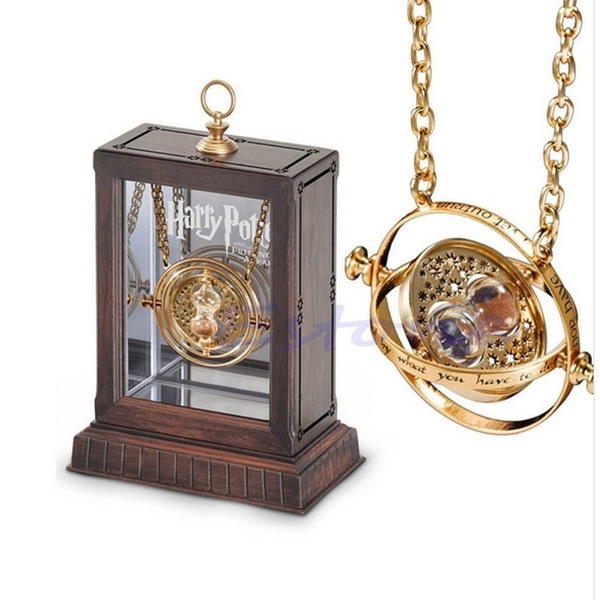 Picture of 1pc Gold Hourglass Harry Potter Time Turner Necklace Hermione Granger Rotating Spins Size 30 G