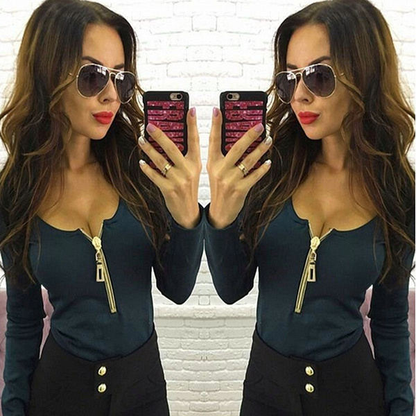 New Fashion Women sexy deep V neck long sleeved zipper leisure T shirt( Black, red, blue,S-XXL)