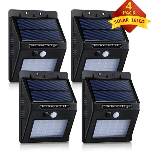 4 Pack 16 LED eclairage exterieur imperméable, AutumnBox eclairage terrasse  Sans Fil Détecteur de Mouvement avec Trois Modes Intelligents , Éclairage  ...