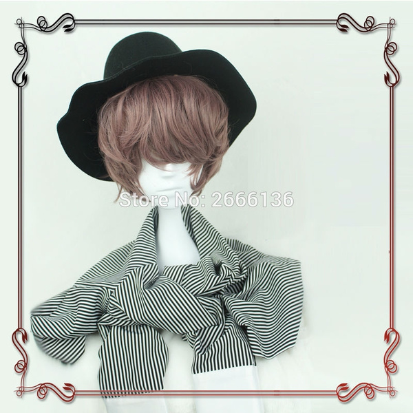 New! Wig cosplay 35cm Gothic Handsome guy brown style brown wave curls wavy  hair vampire male short hair No headwear