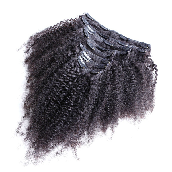 Wish Natural Color Mongolian Kinky Curly Clip In Hair Extensions