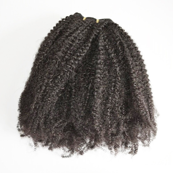 Wish Natural Color Mongolian Kinky Curly Hair Clip In Human Hair
