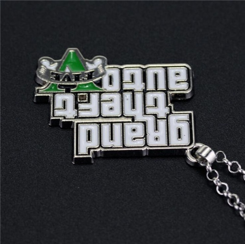 Classic Game GTA 5 Necklace Grand Theft Auto Pendant Necklace for Men Fans V Logo Necklace
