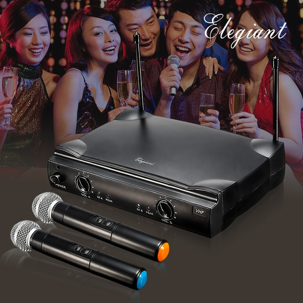 Picture of 5 Days Arrivel Us Stock Elegiant Eu/us Plug Dual Wireless Microphone System + Receiver Professional Set Portable 2-channel Cordless Handheld Microphones Home Party Ktv Karaoke Dj Disco Gifts