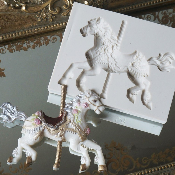 Picture of 3d Carousel Horse Mould Fondant Cake Molds Silicone Mold Cupcake Mould Baking Tools Chocolate Mold