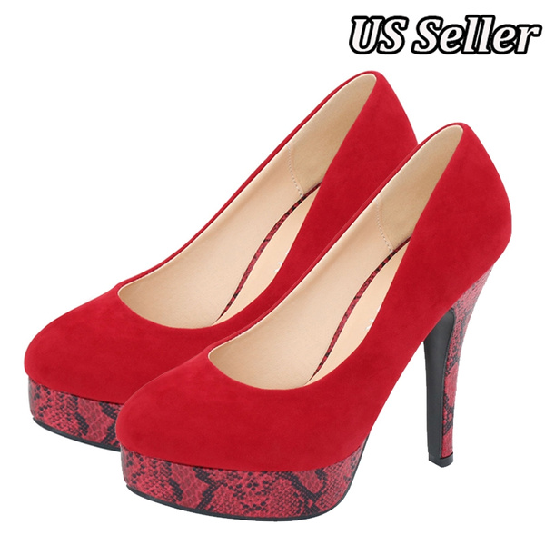 innovative design ad4be 7fd70 (US Seller) Snake Print Red Bottom Wedding Pumps Sexy High Heel Shoes  Platform Women Party Shoes Big Size