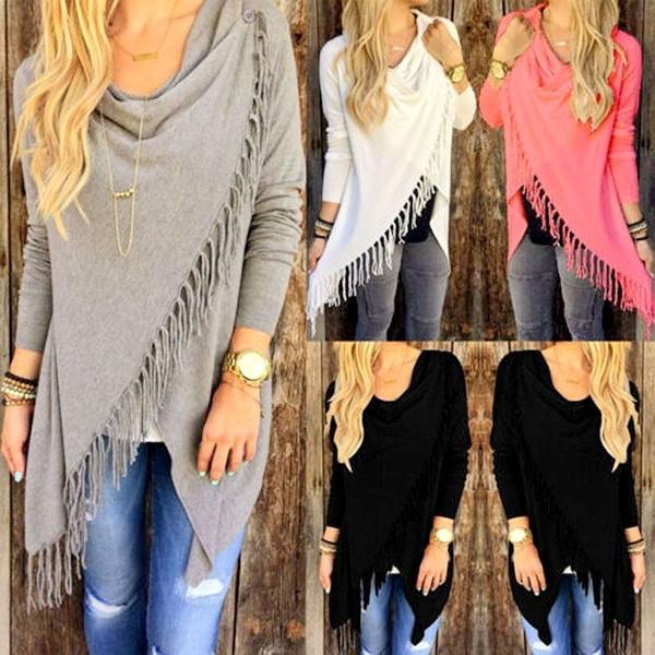 Fashion Autumn Women Long Sleeve Tassel Slash Pullover Casual Knitted Wear Winter Sweater