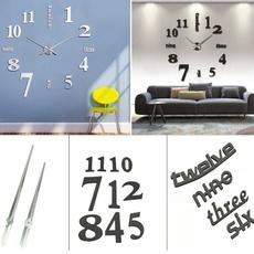 3dmirrorwallclock, Home Decor, wand, Clock