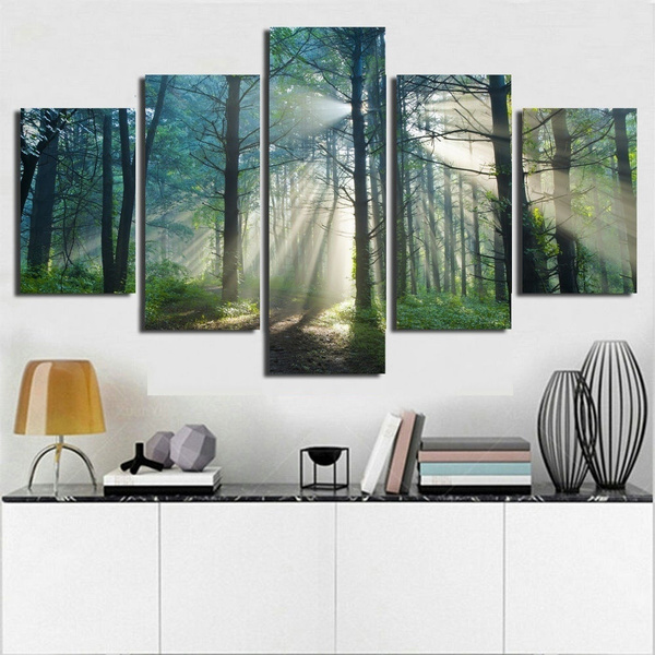 home office artwork. Wish | Home Decor Forests Wall Decorations Painting,for Living Room Office Artwork 5 Piece Art Canvas Trees Paintings Landscape E