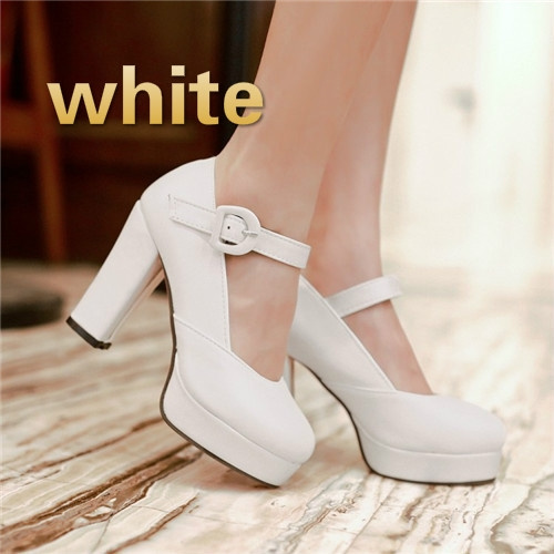 New Womens Round Toe Mary Janes Block Heel Ankle Strap Plus Size Pumps Shoes Hot