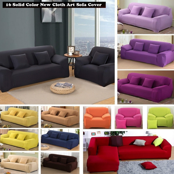 16 Solid Color Cushions Universal Armchair Furniture Covers Elastic Case on  the Corner Sofa Cover