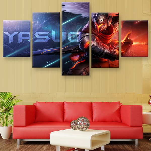 Wish   Unframend HD Printed League of Legends Yasuo 5 Piece Painting ...