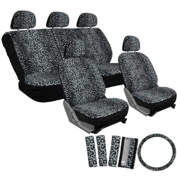Groovy Car Seat Covers Grey 17Pc Set For Auto Cheetah Leopard Animal Print Belt Pads Machost Co Dining Chair Design Ideas Machostcouk