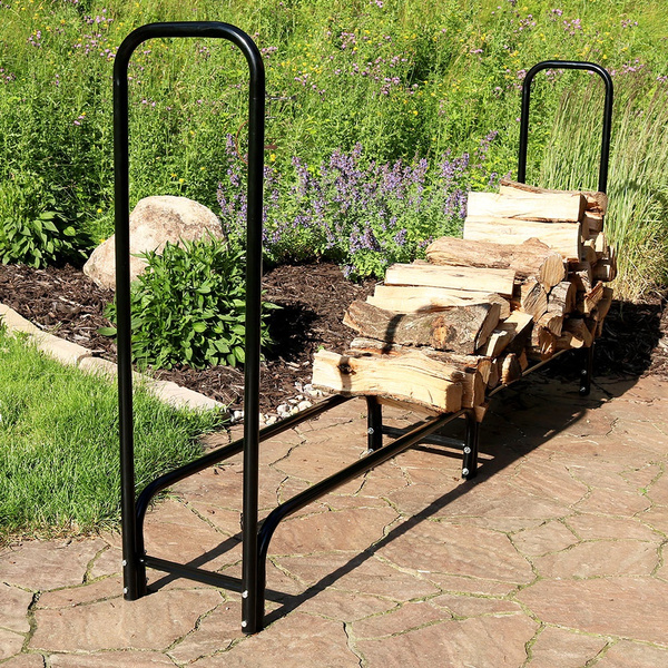 Outstanding Sunnydaze 8 Foot Firewood Log Rack Only Outdoor Fireplace Wood Stacker Storage Holder Black Gmtry Best Dining Table And Chair Ideas Images Gmtryco