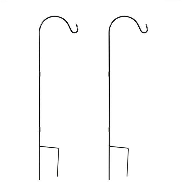 Sunnydaze 48-Inch Powder-Coated Steel Single Shepherd Hook Set of 2 Black