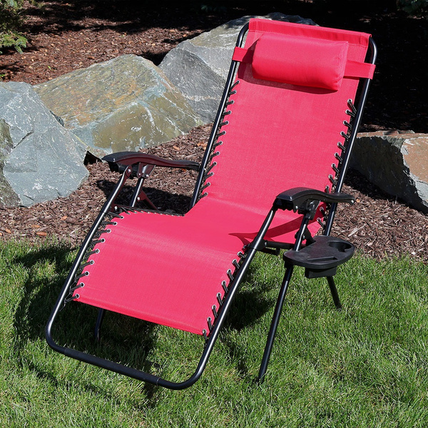 Pleasing Sunnydaze Outdoor Xl Zero Gravity Lounge Chair With Pillow And Cup Holder Folding Patio Lawn Recliner Red Pabps2019 Chair Design Images Pabps2019Com