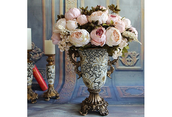 High Quality 8 Heads European Style Silk Flowers Peony Party Home Wedding Plants Decoration