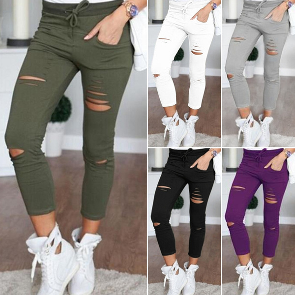 arrives for whole family fashion style Fashion Womens Stretch Ripped Jeans Ladies Slim Fit Skinny Jeans ...