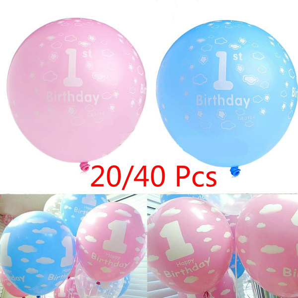 Picture of 20pcs Baby 1st First Birthday Ballons Girl Boy Printed Number 1 Party Decor Tit