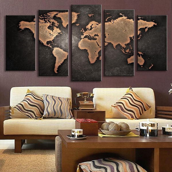 Wish 5 piece large size beatiful vintage world map modern creative wish 5 piece large size beatiful vintage world map modern creative home wall decor canvas picture art hd print wall painting set of 5 each canvas arts gumiabroncs Image collections
