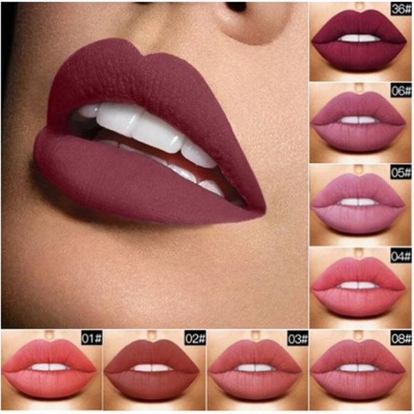 Picture of Lover-beauty Fashion Makeup Nude Metallic Matte Velvet Glossy Lip Gloss Lipstick Lip Cream