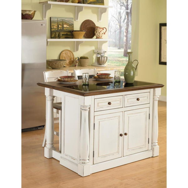 Sensational Antiqued White Kitchen Island With Granite Top And Two Stools By Home Styles Andrewgaddart Wooden Chair Designs For Living Room Andrewgaddartcom