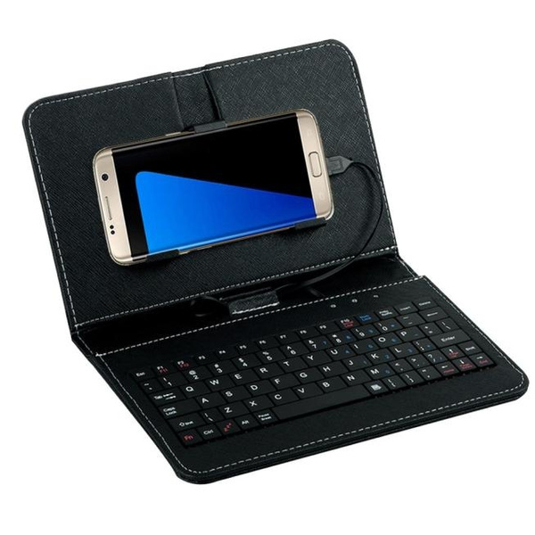 Picture of Black General Wired Keyboard Flip Holster Case For Andriod Mobile Phone 4.2''-6.8''