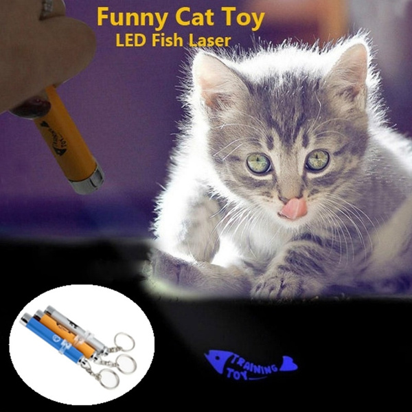 Funny Cat Dog LED Laser Pointer Light Pen Pet Toys With Bright Mouse Animation