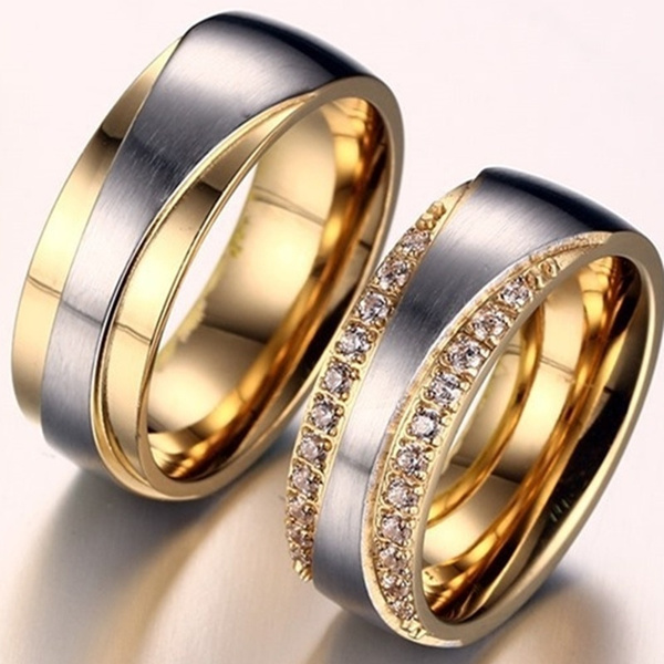 Picture of 18k Gold Plated Alliance Ring Cz Diamond Wedding Band Ring For Women And Men Quality Titanium Steel Couple Ring