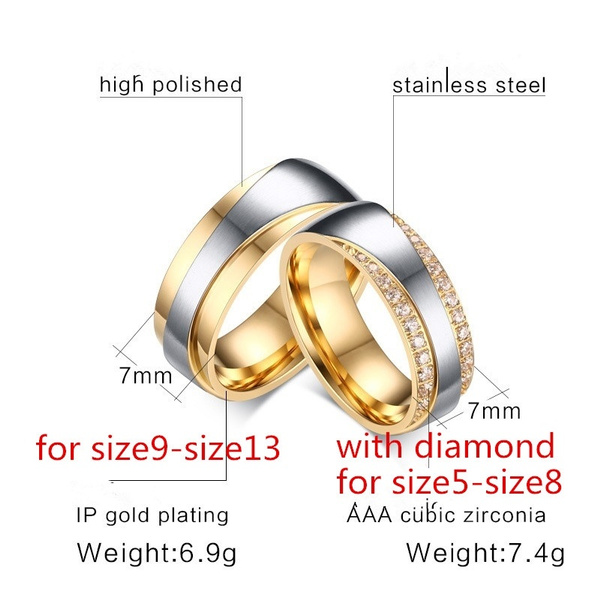 18K Gold Plated Alliance Ring CZ Diamond Wedding Band Ring For Women And Men Quality Titanium Steel Couple Ring