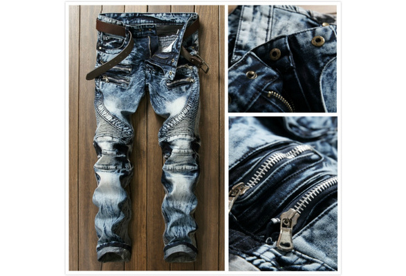 High Quality Ripped Jeans Men Fashion Patchwork Moto Jeans 2017 New Mens Pants Slim Fit Jeans Men Biker Denim Jean men