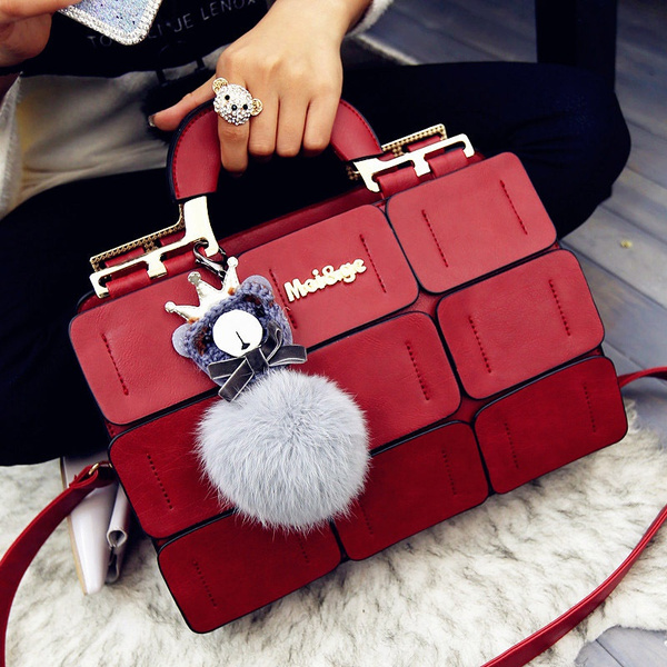 Picture of Suture Boston Bag Inclined Shoulder Ladies Hand Bag Women Pu Leather Handbag