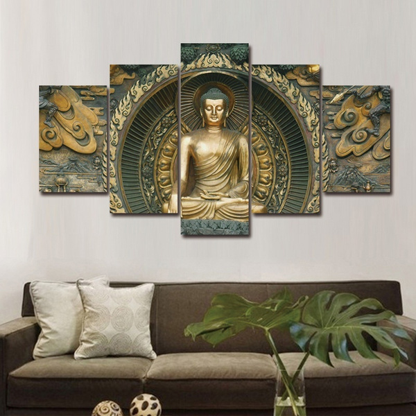 5pcs Frameless Canvas Photo Prints Statue of Buddha Paintings Artwork  Giclee Wall Decorations Living Room Home Office Home Decor Wall Art Canvas  ...