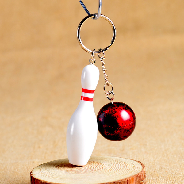 Mini bowling pin and ball keychain,bowling key ring,bowling ball key chain