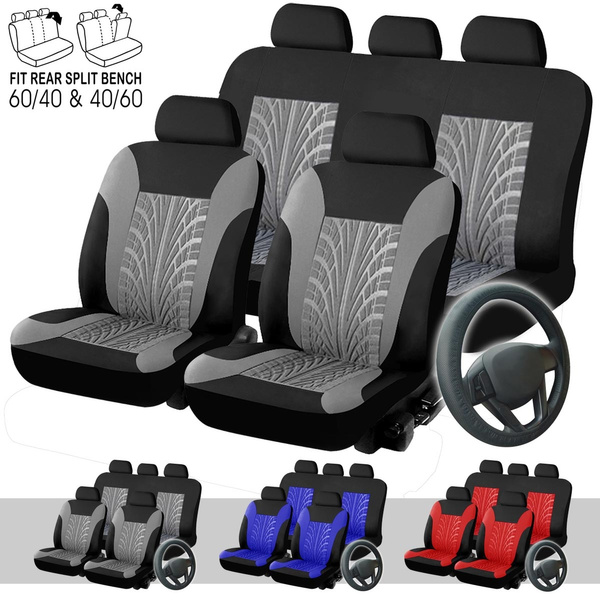 Brilliant Universal 9 Pieces Full Set Tyre Track Embossed Car Seat Cover Fit For 60 40 40 60 Split Rear Bench With Car Steering Wheel Cover Dailytribune Chair Design For Home Dailytribuneorg
