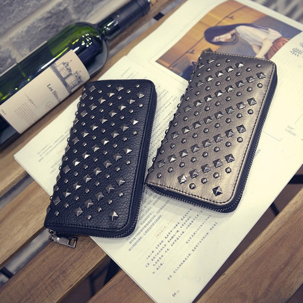 Picture of Women Punk Style Leather Clutch Wallet Long Rivet Card Holder Purse Handbag Ladies Phone Cases Metal Bags