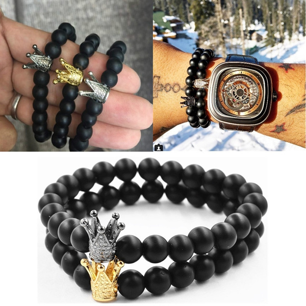 Picture of Natural Stone King Crown Charm Bracelet Men Women Polish Matte Stone Bead Bracelets